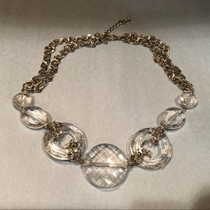 Vintage Glass Crystal Choker Necklace Clear Silver